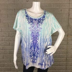 Weekends by Chico's Short Sleeve Casual Top 3 XL